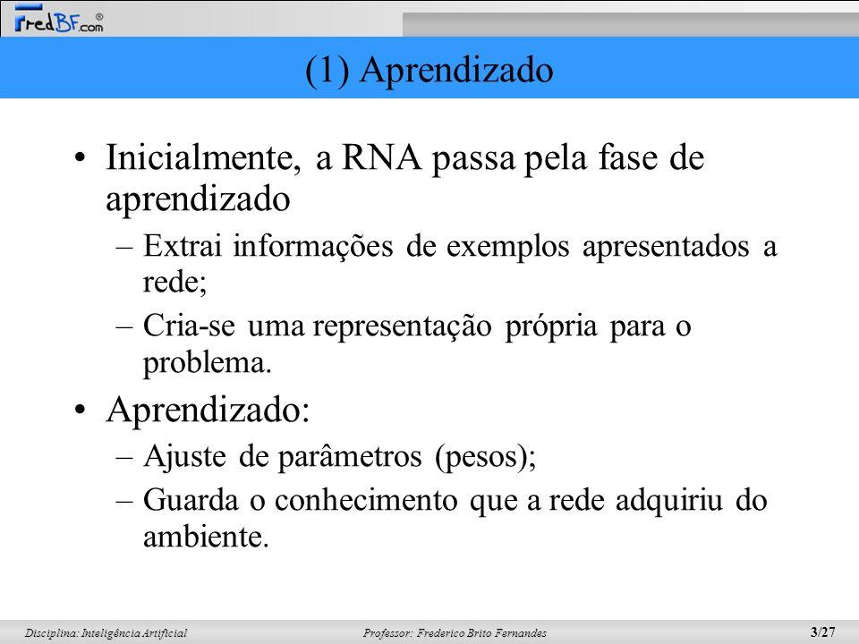 Inicialmente, a RNA passa pela fase de aprendizado