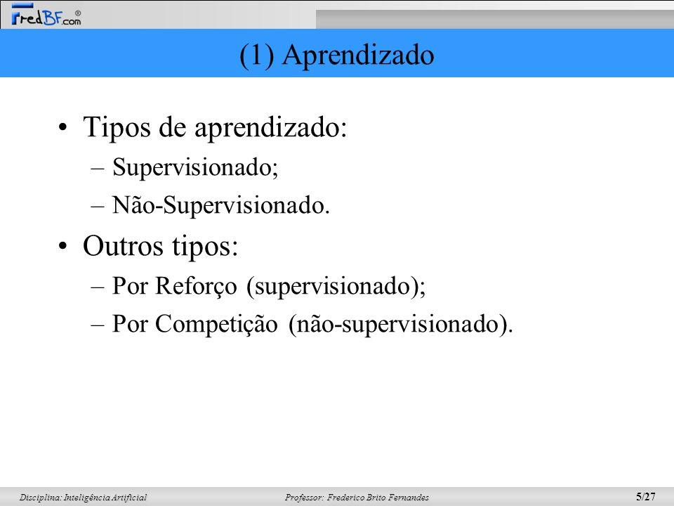 (1) Aprendizado Tipos de aprendizado: Outros tipos: Supervisionado;