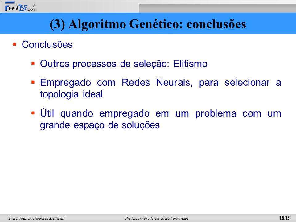 (3) Algoritmo Genético: conclusões