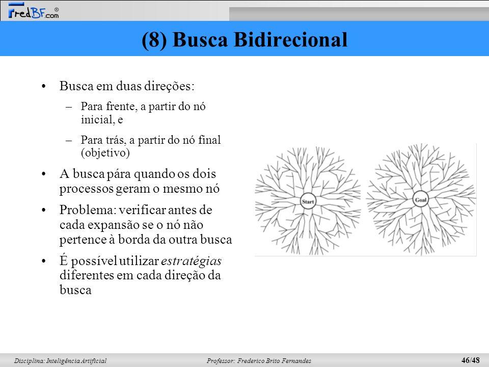 (8) Busca Bidirecional Busca em duas direções: