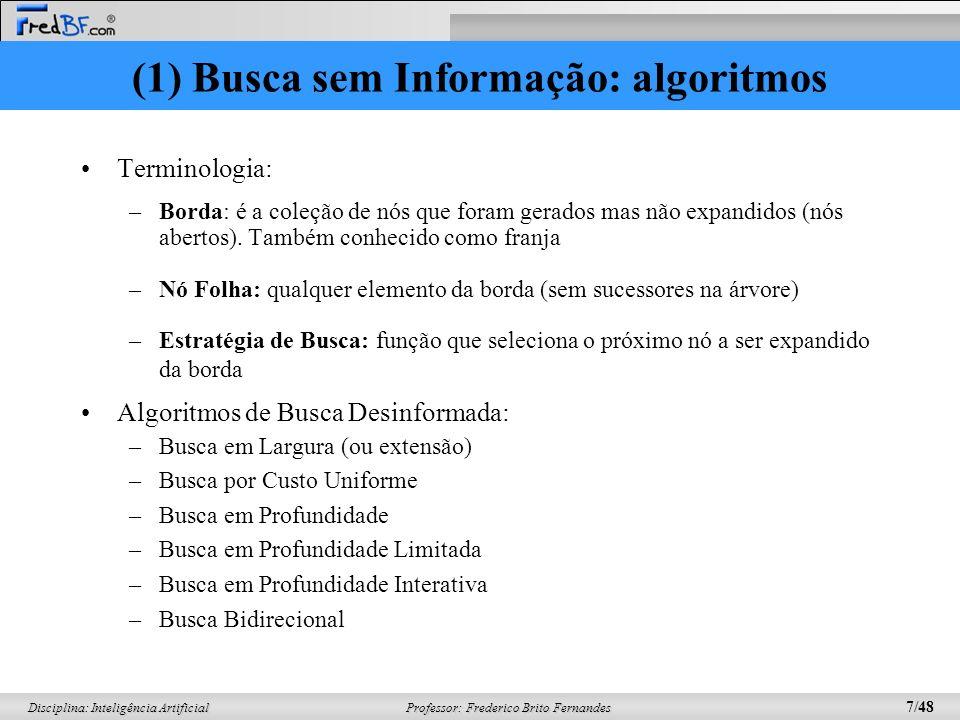 (1) Busca sem Informação: algoritmos