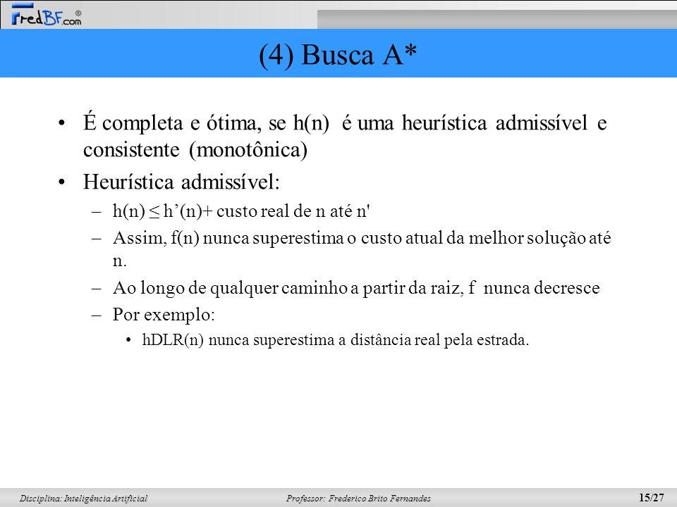 (4) Busca A* É completa e ótima, se h(n) é uma heurística admissível e consistente (monotônica) Heurística admissível: