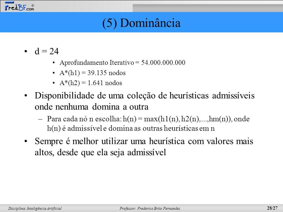 (5) Dominância d = 24. Aprofundamento Iterativo = 54.000.000.000. A*(h1) = 39.135 nodos. A*(h2) = 1.641 nodos.