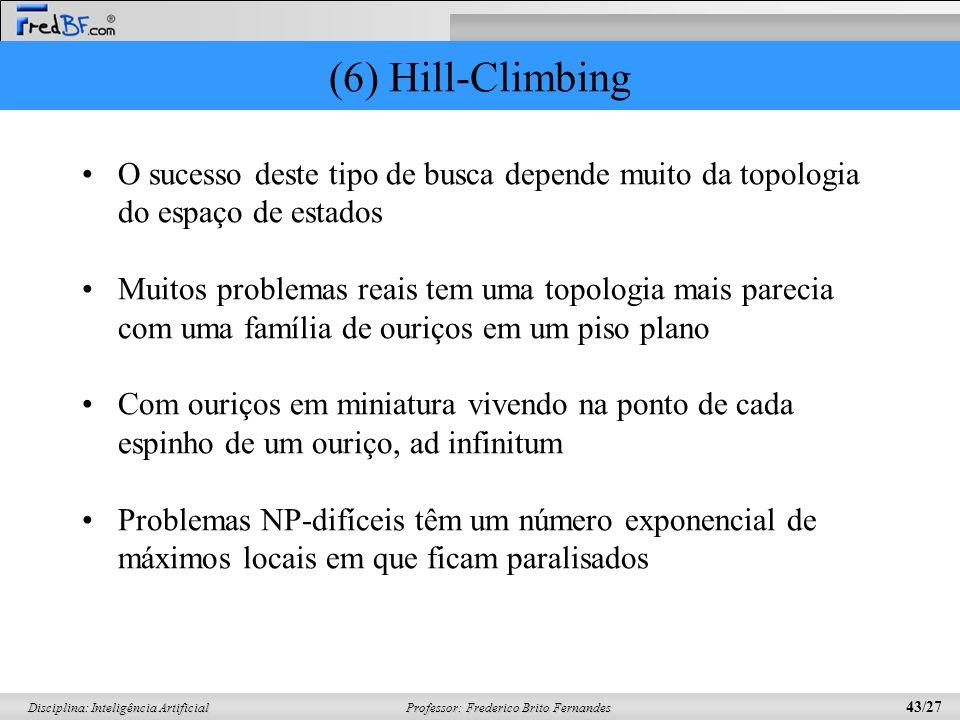 (6) Hill-Climbing O sucesso deste tipo de busca depende muito da topologia do espaço de estados.