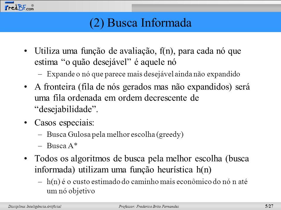 (2) Busca Informada Utiliza uma função de avaliação, f(n), para cada nó que estima o quão desejável é aquele nó.