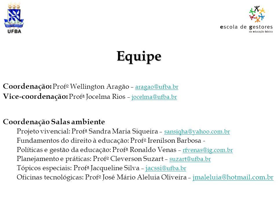 Equipe Coordenação: Profo Wellington Aragão – aragao@ufba.br