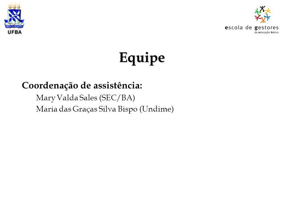 Equipe Coordenação de assistência: Mary Valda Sales (SEC/BA)