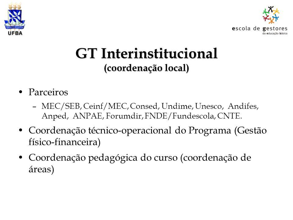 GT Interinstitucional (coordenação local)