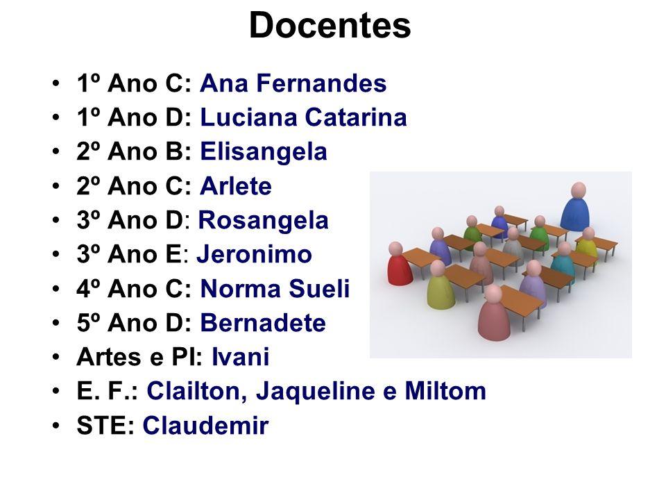 Docentes 1º Ano C: Ana Fernandes 1º Ano D: Luciana Catarina