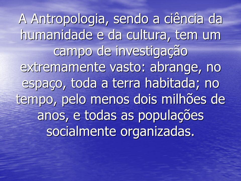 A Antropologia, sendo a ciência da humanidade e da cultura, tem um campo de investigação extremamente vasto: abrange, no espaço, toda a terra habitada; no tempo, pelo menos dois milhões de anos, e todas as populações socialmente organizadas.