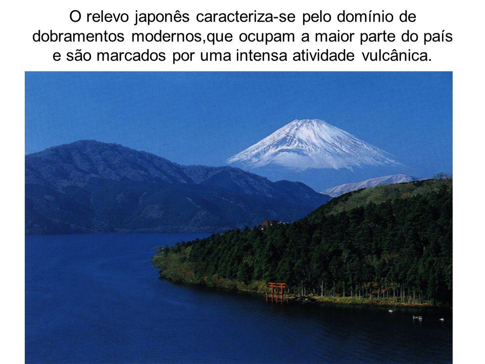 O relevo japonês caracteriza-se pelo domínio de dobramentos modernos,que ocupam a maior parte do país e são marcados por uma intensa atividade vulcânica.