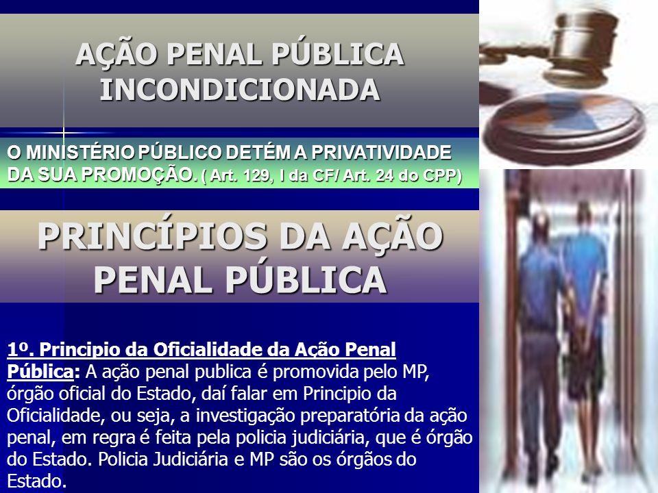 AÇÃO PENAL PÚBLICA INCONDICIONADA PRINCÍPIOS DA AÇÃO PENAL PÚBLICA