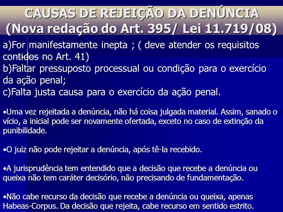 CAUSAS DE REJEIÇÃO DA DENÚNCIA