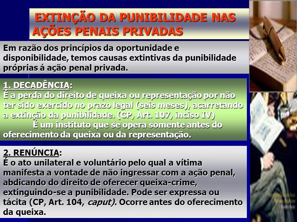 EXTINÇÃO DA PUNIBILIDADE NAS AÇÕES PENAIS PRIVADAS