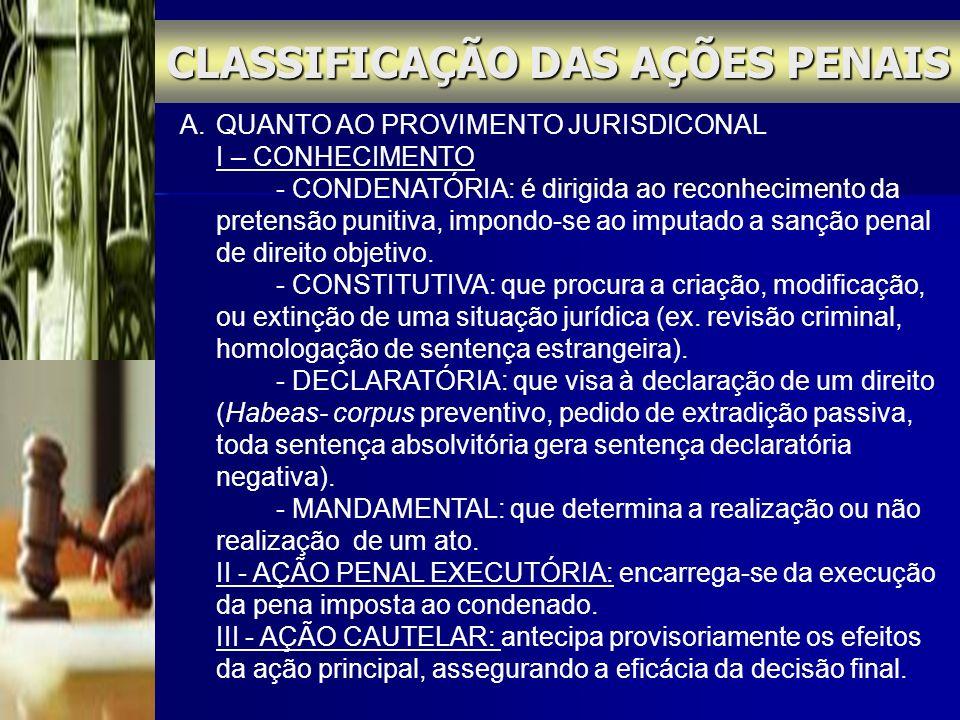 CLASSIFICAÇÃO DAS AÇÕES PENAIS