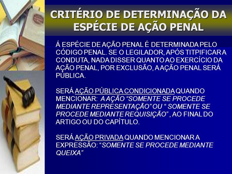 CRITÉRIO DE DETERMINAÇÃO DA ESPÉCIE DE AÇÃO PENAL
