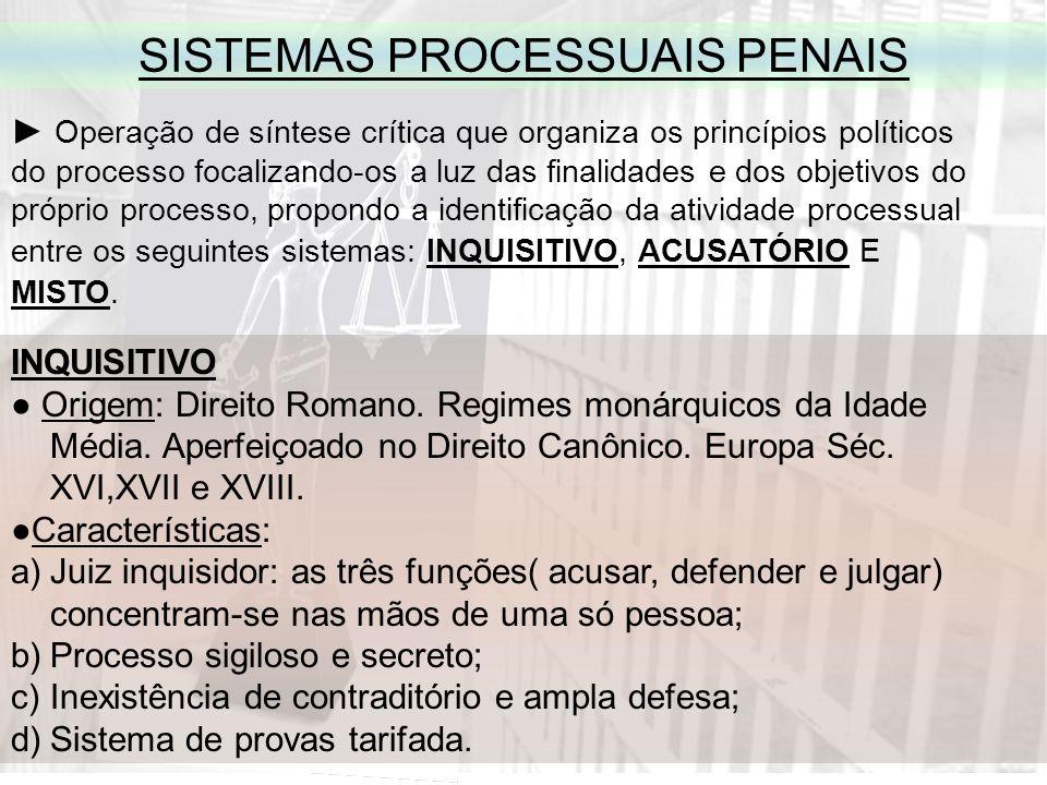 SISTEMAS PROCESSUAIS PENAIS