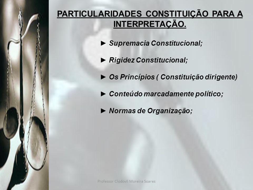 PARTICULARIDADES CONSTITUIÇÃO PARA A INTERPRETAÇÃO.