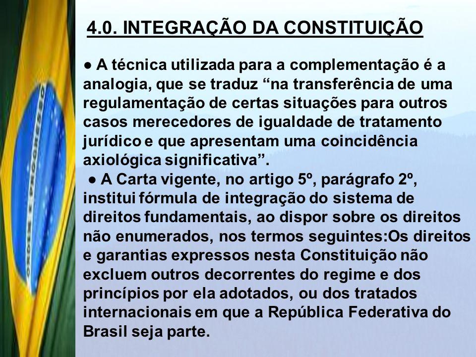 4.0. INTEGRAÇÃO DA CONSTITUIÇÃO
