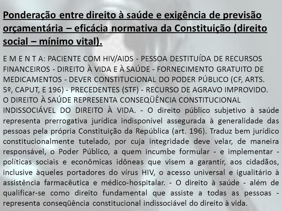 Ponderação entre direito à saúde e exigência de previsão orçamentária – eficácia normativa da Constituição (direito social – mínimo vital).
