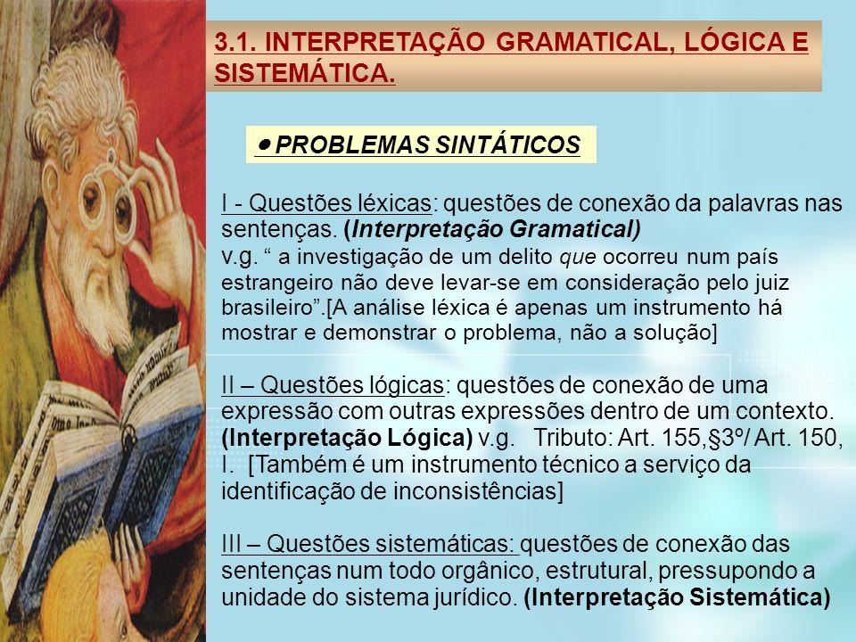 3.1. INTERPRETAÇÃO GRAMATICAL, LÓGICA E SISTEMÁTICA.