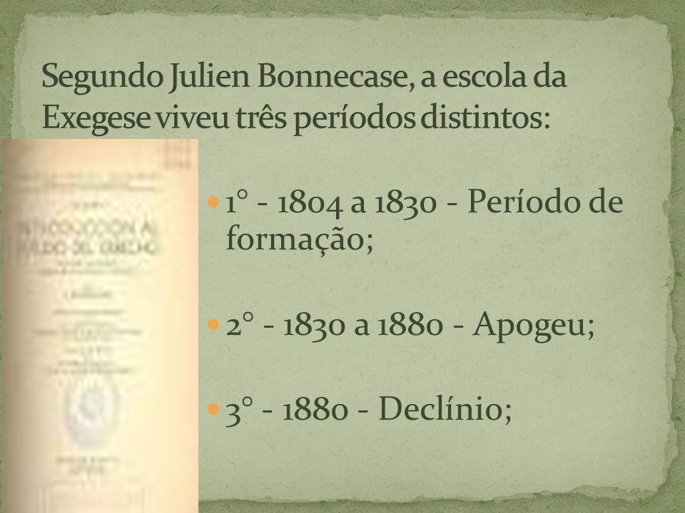 Segundo Julien Bonnecase, a escola da Exegese viveu três períodos distintos:
