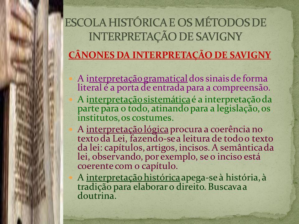 ESCOLA HISTÓRICA E OS MÉTODOS DE INTERPRETAÇÃO DE SAVIGNY