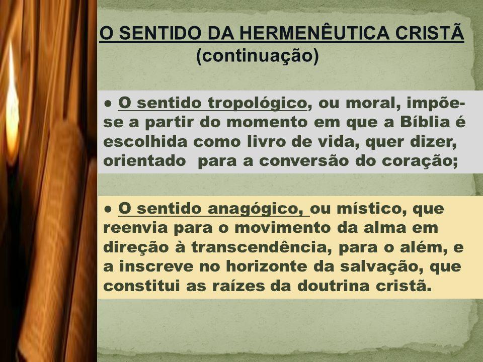 O SENTIDO DA HERMENÊUTICA CRISTÃ (continuação)