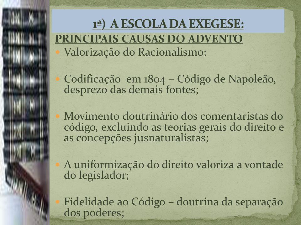 1ª) A ESCOLA DA EXEGESE: PRINCIPAIS CAUSAS DO ADVENTO