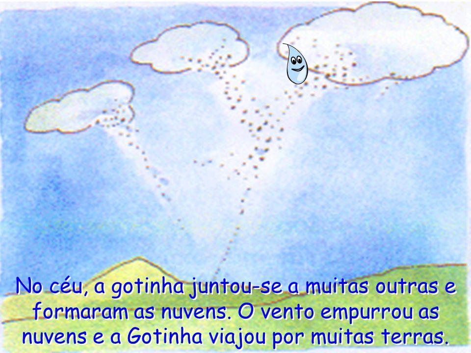 No céu, a gotinha juntou-se a muitas outras e formaram as nuvens