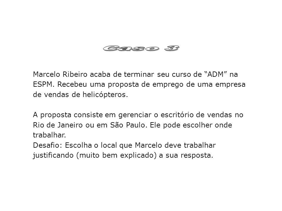 Caso 3 Marcelo Ribeiro acaba de terminar seu curso de ADM na ESPM. Recebeu uma proposta de emprego de uma empresa de vendas de helicópteros.