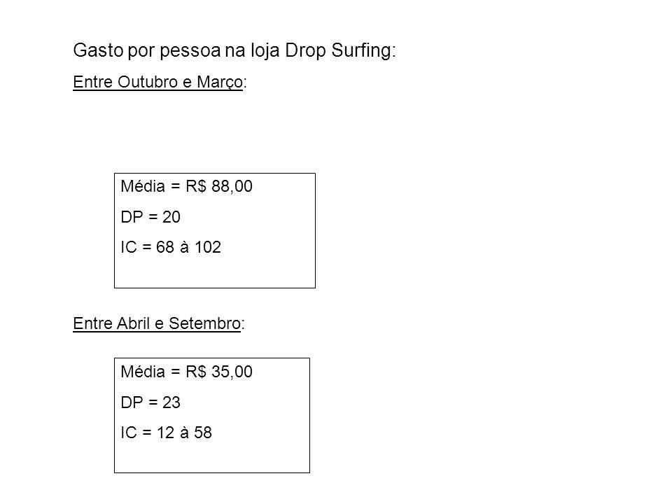 Gasto por pessoa na loja Drop Surfing: