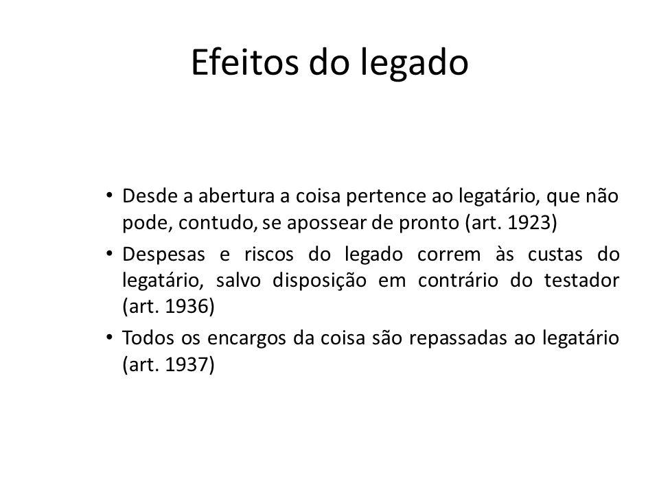 Efeitos do legado Desde a abertura a coisa pertence ao legatário, que não pode, contudo, se apossear de pronto (art. 1923)