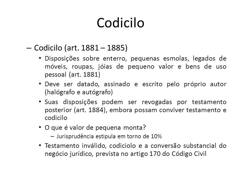 Codicilo Codicilo (art. 1881 – 1885)