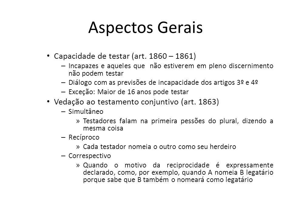 Aspectos Gerais Capacidade de testar (art. 1860 – 1861)