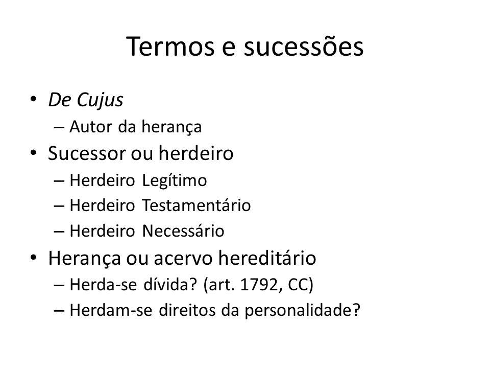 Termos e sucessões De Cujus Sucessor ou herdeiro