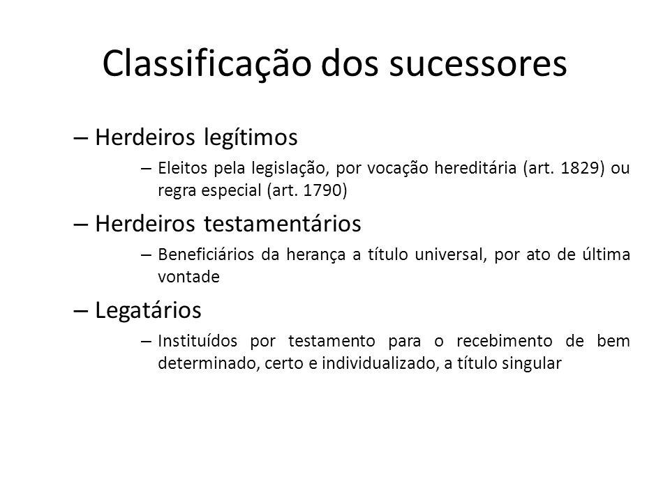 Classificação dos sucessores