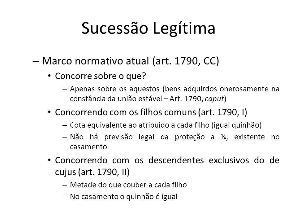 Sucessão Legítima Marco normativo atual (art. 1790, CC)