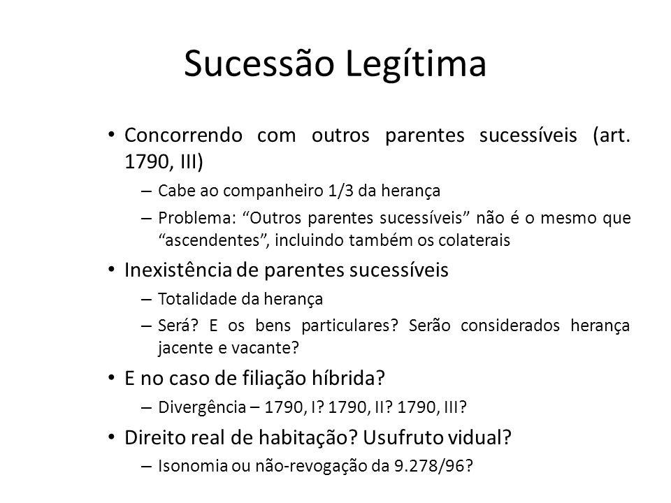 Sucessão LegítimaConcorrendo com outros parentes sucessíveis (art. 1790, III) Cabe ao companheiro 1/3 da herança.