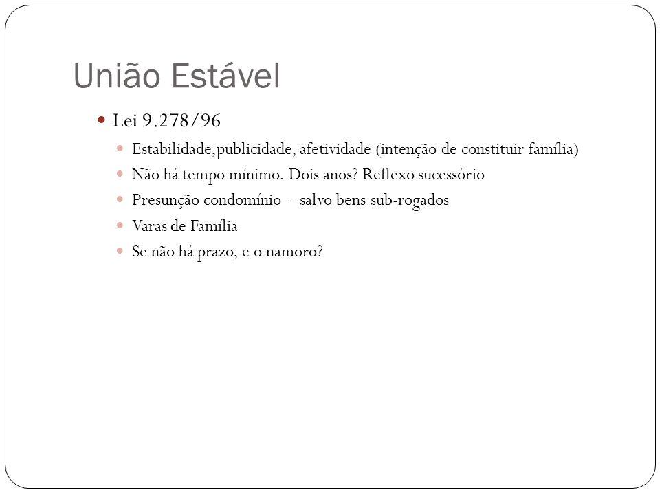 União Estável Lei 9.278/96. Estabilidade,publicidade, afetividade (intenção de constituir família)
