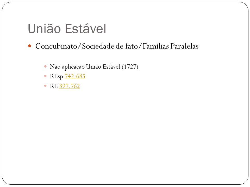 União Estável Concubinato/Sociedade de fato/Famílias Paralelas