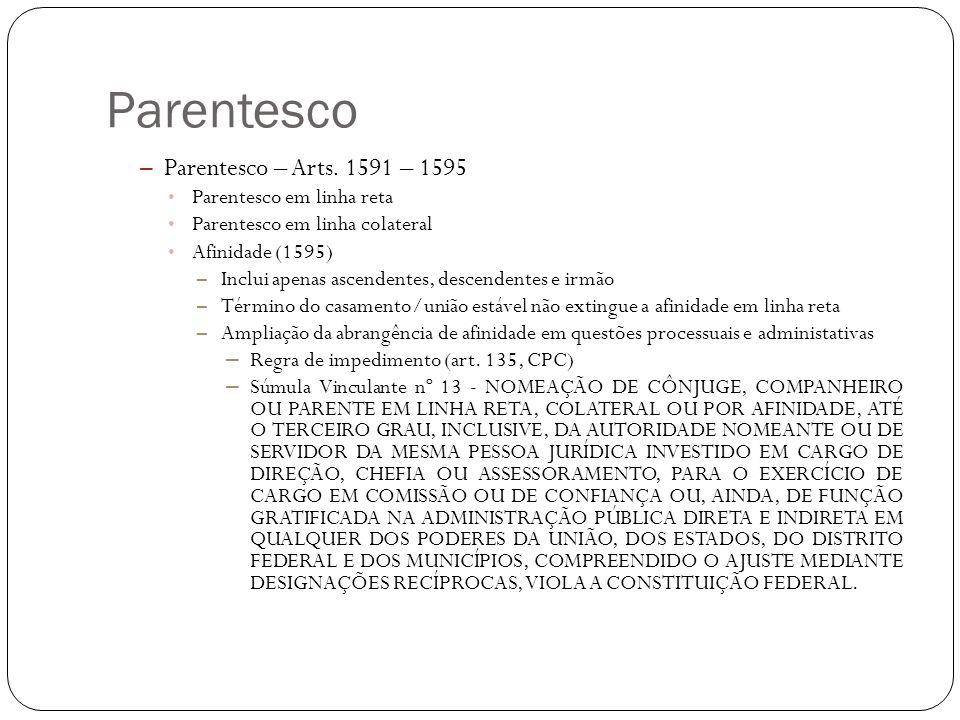 Parentesco Parentesco – Arts. 1591 – 1595 Parentesco em linha reta