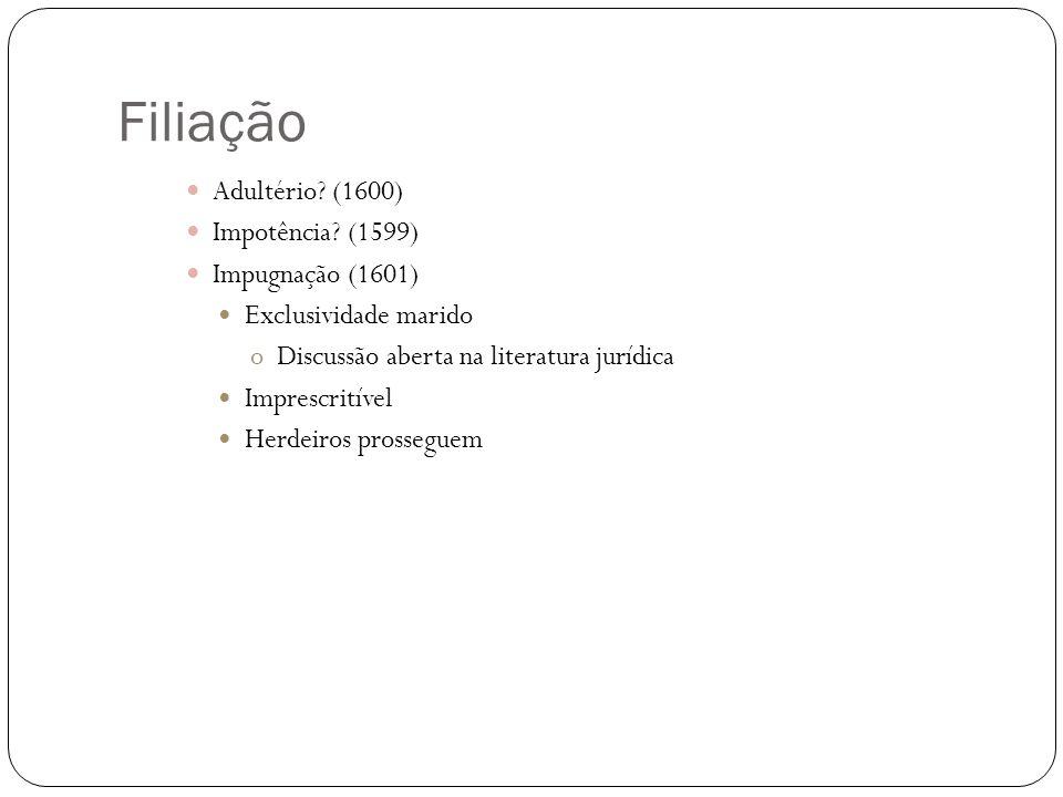 Filiação Adultério (1600) Impotência (1599) Impugnação (1601)