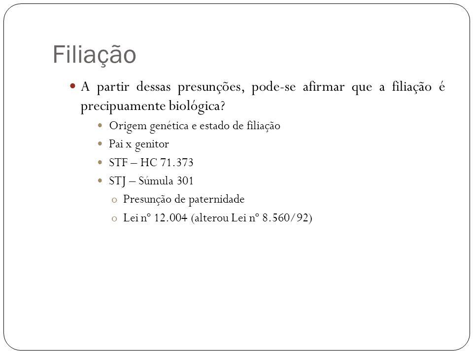 Filiação A partir dessas presunções, pode-se afirmar que a filiação é precipuamente biológica Origem genética e estado de filiação.