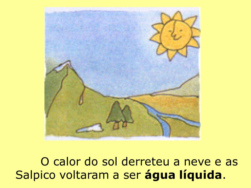 O calor do sol derreteu a neve e as Salpico voltaram a ser água líquida.