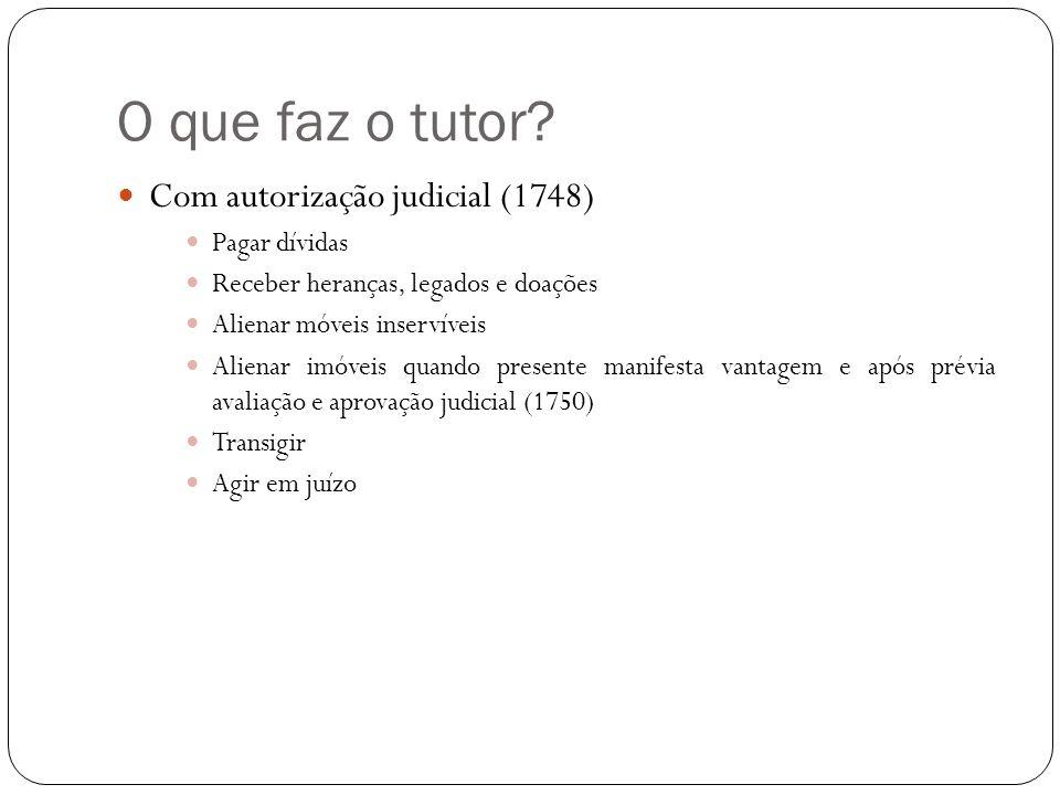 O que faz o tutor Com autorização judicial (1748) Pagar dívidas