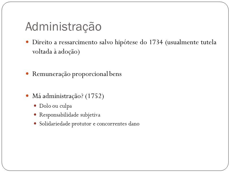 Administração Direito a ressarcimento salvo hipótese do 1734 (usualmente tutela voltada à adoção) Remuneração proporcional bens.