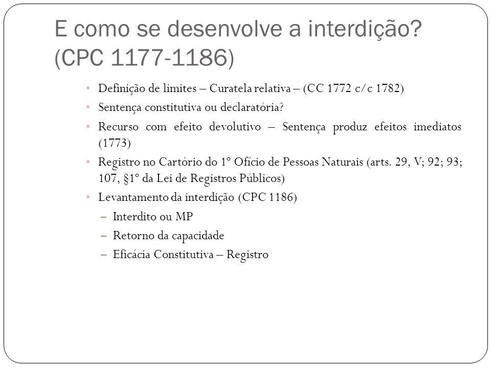 E como se desenvolve a interdição (CPC 1177-1186)