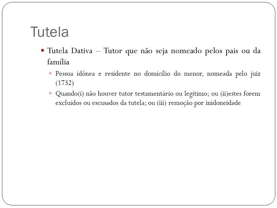 Tutela Tutela Dativa – Tutor que não seja nomeado pelos pais ou da família.