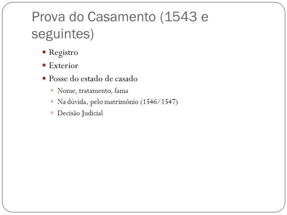 Prova do Casamento (1543 e seguintes)